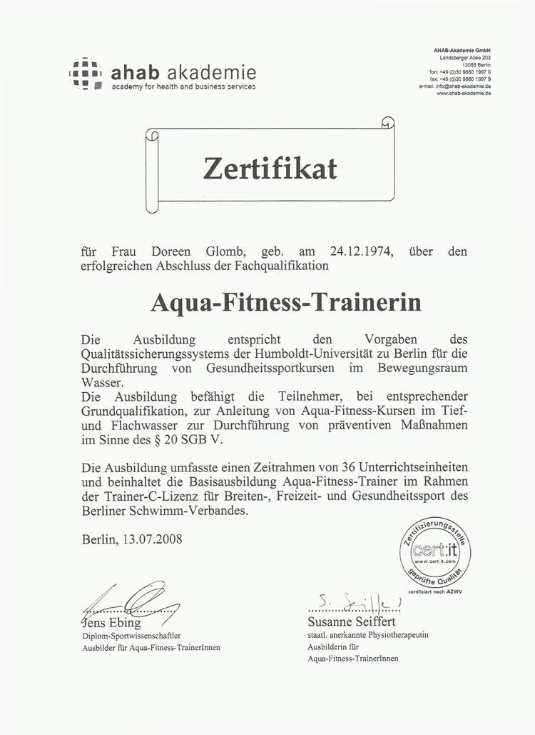Zertifikat Aqua-Fitness-Trainerin