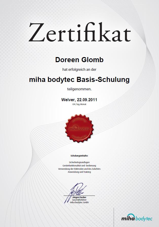 Zertifikat Miha Bodytec