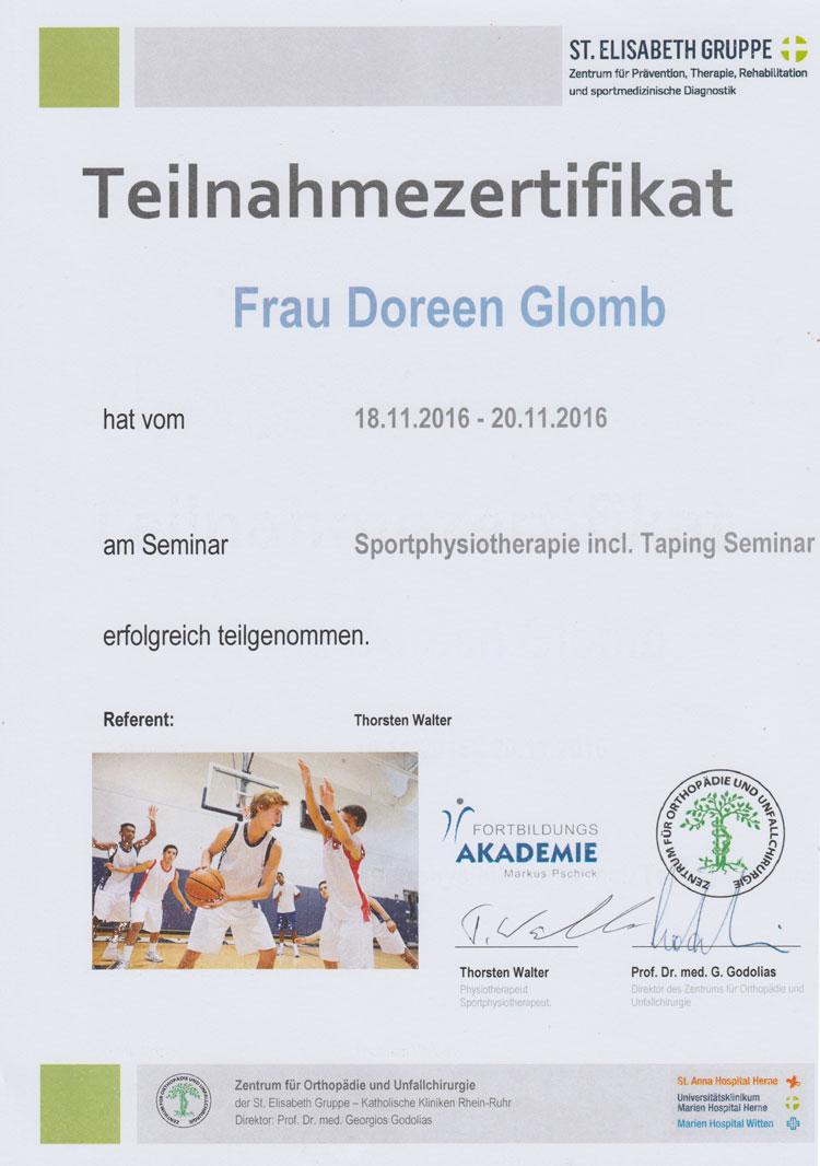 Zertifikat Sportphysiotherapie inkl. Taping-Seminar